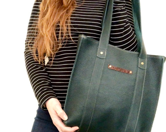 Featured listing image: Handmade leather tote - forest green