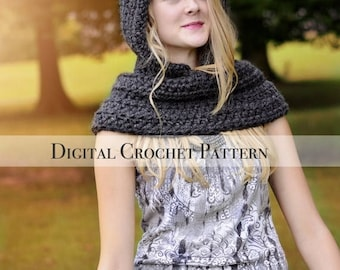 ON SALE Crochet Pattern / Hat Pattern / Cowl Pattern / The Hooded Cowl Pattern 030 / Pixie Hat Pattern