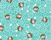 SHOP CLOSING SALE Michael Miller Christmas Fabric by the yard Man Flakes in Aqua 1 yard
