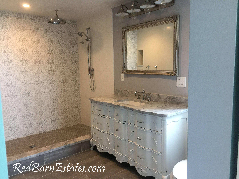 Bathroom vanity cabinet we custom convert from vintage - Furniture looking bathroom vanities ...