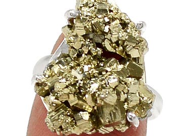 Peruvian Golden Pyrite (Fool's Gold) Sterling Silver Ring s.6.5