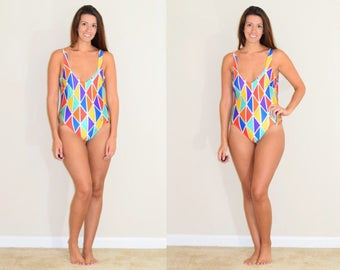 Vintage Geometric Patterned One Piece with Side Cutouts and Scoop Back