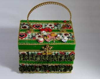 """Vintage handbag """"Pique-nique chez les Helvètes """"vintage  unique piece retro chic    steampunk bag french touch"""