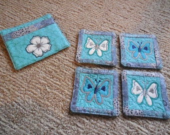 FIVE piece EMBROIDERED COASTER Set
