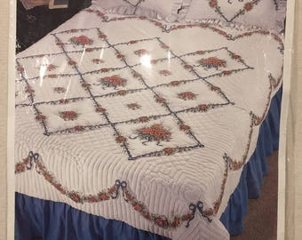 Bucilla Stamped Cross Stitch  - Renaissance Rose Quilt - Queen Size -  Unopened