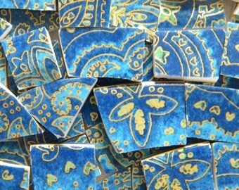 Blue Paisley MOSAIC China Tiles - Recycled Plates - 100 Tiles