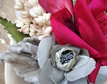 Antique Vintage Velvet Millinery Flowers Posy - #205