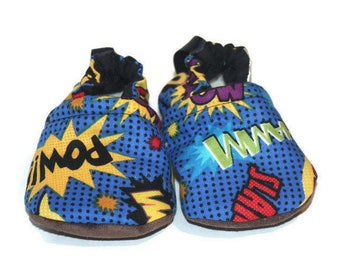 comic book Superhero costume baby shoes baby moccasins vegan shoes  baby booties indoor shoes indoor slippers toddler shoes