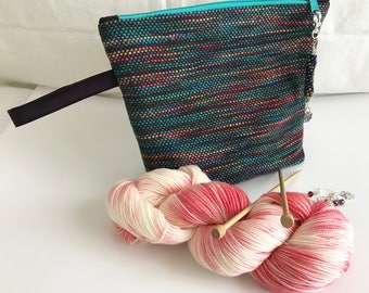 Knitting Project Bag | Hand Dyed Yarn | Stitch Markers | Cosmetic Bag | Clutch Purse | Sock Yarn | Knitting Bag Set | Handwoven Bag | Unique
