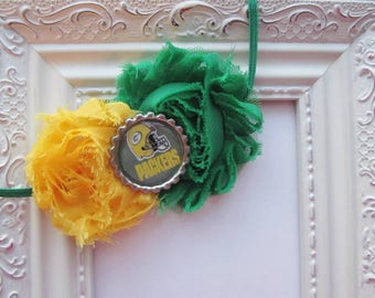 Green Bay Packers Inspired Shabby Flower Headband - Green & Yellow Shabby Flower Headband with Packers Bottle Cap Accent - Go Packers