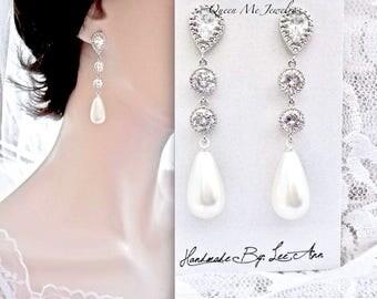 Brides pearl earrings, Long pearl drop earrings, Sterling silver posts, Pearl wedding earrings, Long pearl earrings,  Pearl earrings ~