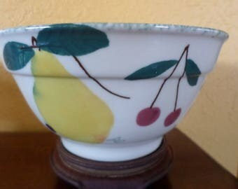 "Hartstone PEAR, PLUMS, CHERRIES, Grapes/Bowl/7"" Like New/1987"