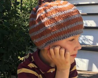 Boys Stripped PomPom Hat
