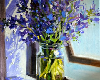 PERS BLOMME,  Art Print, still life of purple flowers, mason jar, gift for mom, gift for her, Christmas gift