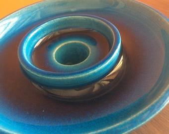 Vintage Scandinavian Art Pottery a Danish modern Egyptian Blue geometrical body Candlestick by master Nils Kähler HAK Denmark 1960s