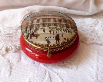 Antique French red glass box trinket box jewelry box w l'Opera Garnier Paris print French souvenir box, antique keepsake powder jewelry box