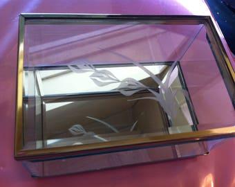 "Display Keepsake Box, 6""x4"" Brass & Glass, Beveled Glass Memento Keeper, Heavyweight Box, Etched Design,"