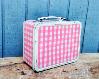Vintage Lunch Box - Pink Gingham Lunch Box - Vintage Lunch Pail - Thermos Lunch Box - Cottage - Farmhouse
