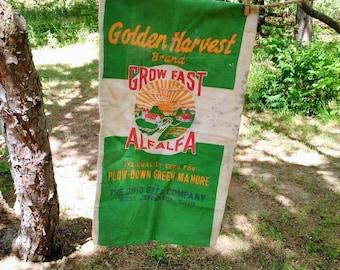 Vintage Linen Sack - Alfalfa Sack - Double Sided Seed Sack - Farmhouse
