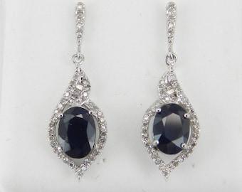 14K White Gold Sapphire and Diamond Drop Earrings Wedding Gift September Birthday Gemstone