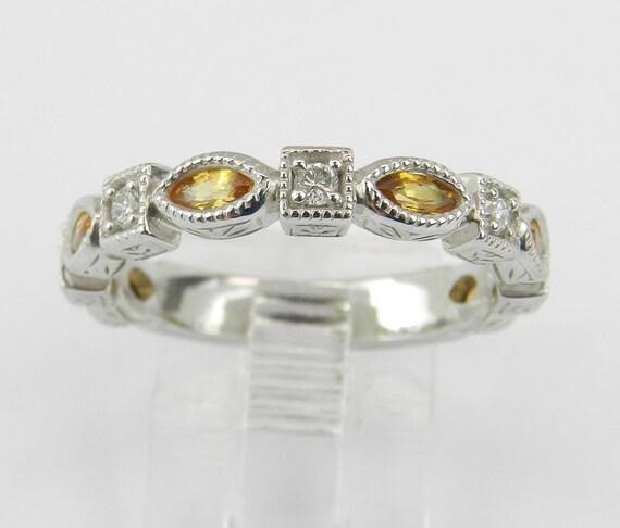 Diamond and Citrine Wedding Ring Anniversary Band 14K White Gold Size 7 November Birthstone