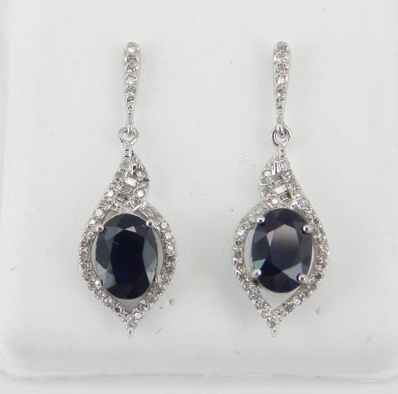 14K White Gold Sapphire and Diamond Drop Earrings Wedding Gift September Birthday Gemstone