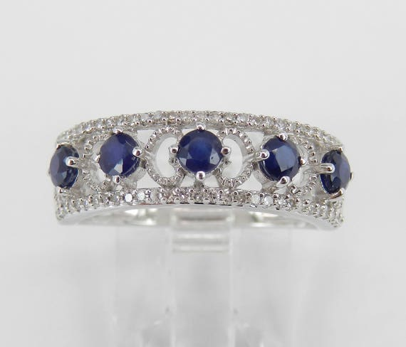 Diamond and Sapphire Wedding Ring Anniversary Band White Gold Size 7