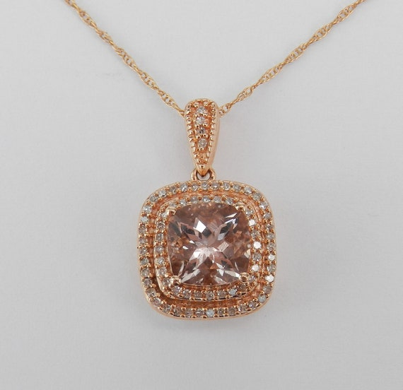 "Diamond and Cushion Cut Morganite Halo Pendant Necklace Rose Gold Wedding Gift 18"" Chain"