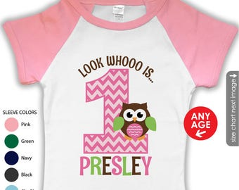 Owl 1st Birthday Shirt or bodysuit - PINK Raglan Shirt - Owl First birthday shirt - Girls Owl Birthday Shirt