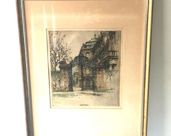 "Vintage Original Signed Etching by Luigi Kasimir (1881-1962), Titled ""Gateway to Belvedere Place"" Austria, Signed in Pencil"