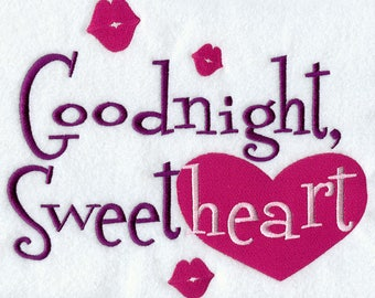 Goodnight, Sweetheart Embroidered on Plain Weave Cotton Tea Towel // Iron-on Patch // Kona Cotton Fabric Square