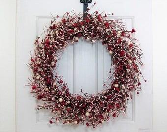 Large Wreath - Valentine Heart & Berry Wreath - Holiday Wreath - Rustic Door Decor - Home Decor - Fireplace Wreath - Red Front Door Wreath