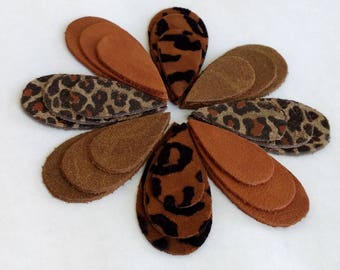 24pcs Leather Teardrops, Leopard Print Genuine Leather Brown Tones Leather