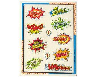 Vintage 90's HALLMARK Stickers Sheet ~ COMIC BOOK Pop Art Phrases Explosions Pow!