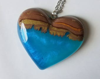 Tropical Reef Wood Heart Necklace Pendant