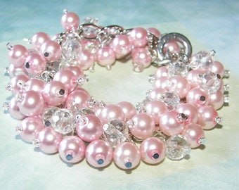 Bridesmaid Jewelry, Pink Pearl and Clear Crystal Cluster Bracelet, Chunky Pink Pearl  Bracelet, Bridesmaid Bracelet, Pink Wedding  Jewelry