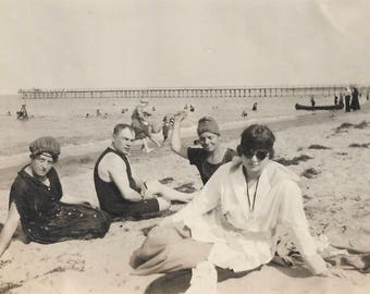 """Vintage Snapshot """"A Day At The Beach"""" Motley Crew Friends Old-Fashioned Swimsuits Sunglasses Swim Caps Found Vernacular Photo"""