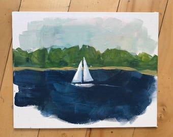 Original ocean Painting, Sailboat art, original art, sea, beach, sky, Landscape, Fine Art, Nature, Modern Art