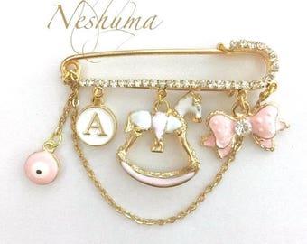 Newborn Baby Pin, Baby Evil Eye Pin, Stroller Pin, Baby Girl Gift, Baby Shower Gift, Hamsa Pin, Baby Jewelry, Diaper Bag Pin, Baby Hamsa