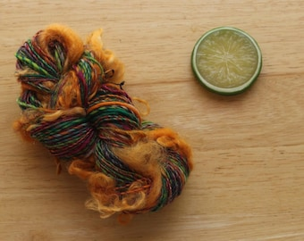 Circus Curls - Green Orange Pink Wool Curl Yarn Handspun Mini Skein