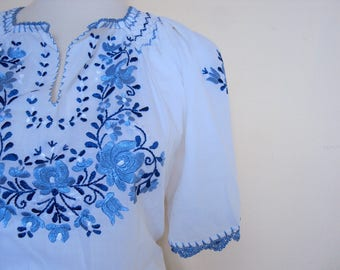 Embroidered Bohemian Peasant Blouse ( Vintage Boho Matyo Folk Top) Free Ship in US