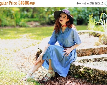 FLASH SALE 50s Button Dress Vintage Light Blue Denim Collar Shirt Dress