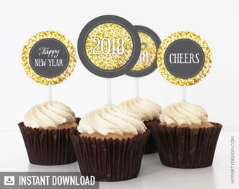 New Year Cupcake Toppers - New Year's Eve - Golden Glitter Party - Happy New Year - Party Circles - INSTANT DOWNLOAD - Printable PDF