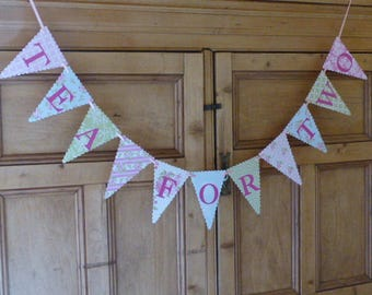 Tea For Two Girls Second Birthday Banner - Tea Party Bunting - Pink, Green, Blue, Floral