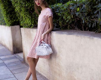 Flapper Dress in Pink , Short Casual Dress for Women, Trendy Spring Dress, Handmade Chic Boho Dress