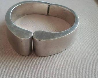 Vintage Sterling silver Mexican Mid Century Clamper Bracelet Designer Signed