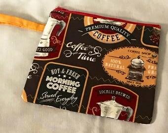 Coffee Zipper Wristlet