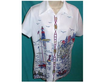 Vintage Women's Button Down Shirt White Sailor Lighthouse Sail Boat 100% Polyester Top 60's 70's