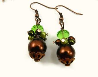 Elegant Autumn Splendor Earrings/Wire Wrapped Earrings/Glass Bead Earrings