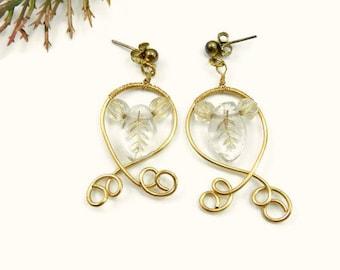 Golden Leaf Woodland Earrings/Wire Wrapped Earrings